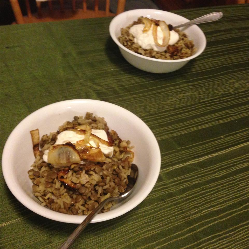 Lentils and Rice with Fried Onions (Mujadarrah) Jeanne