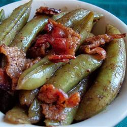Bacon and Balsamic Glazed Sugar Snap Peas homeschooler3