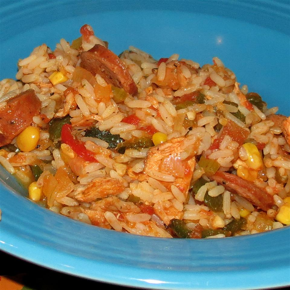 Three-Pepper Rice and Chicken Pot