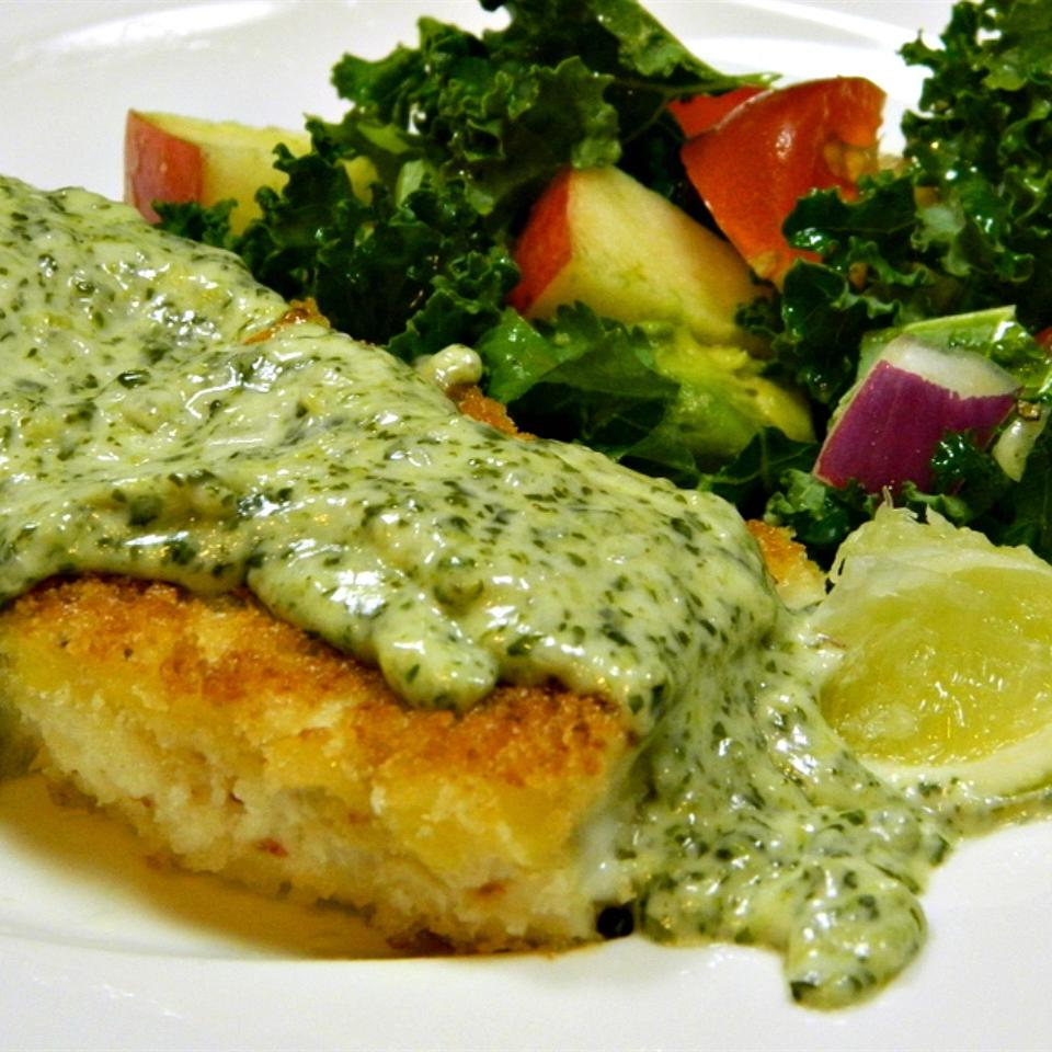 Panko Crusted Halibut with White Serrano and Cilantro Sauce Marianne