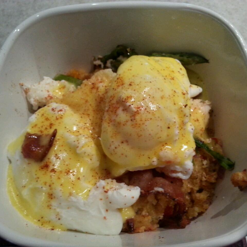 Savory Bacon and Crab Bread Pudding Eggs Benedict clo