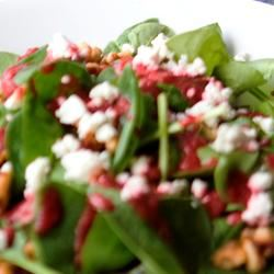 Spinach and Goat Cheese Salad with Beetroot Vinaigrette Laura Santimore