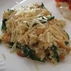 Cheesy Quinoa Pilaf with Spinach Dianne