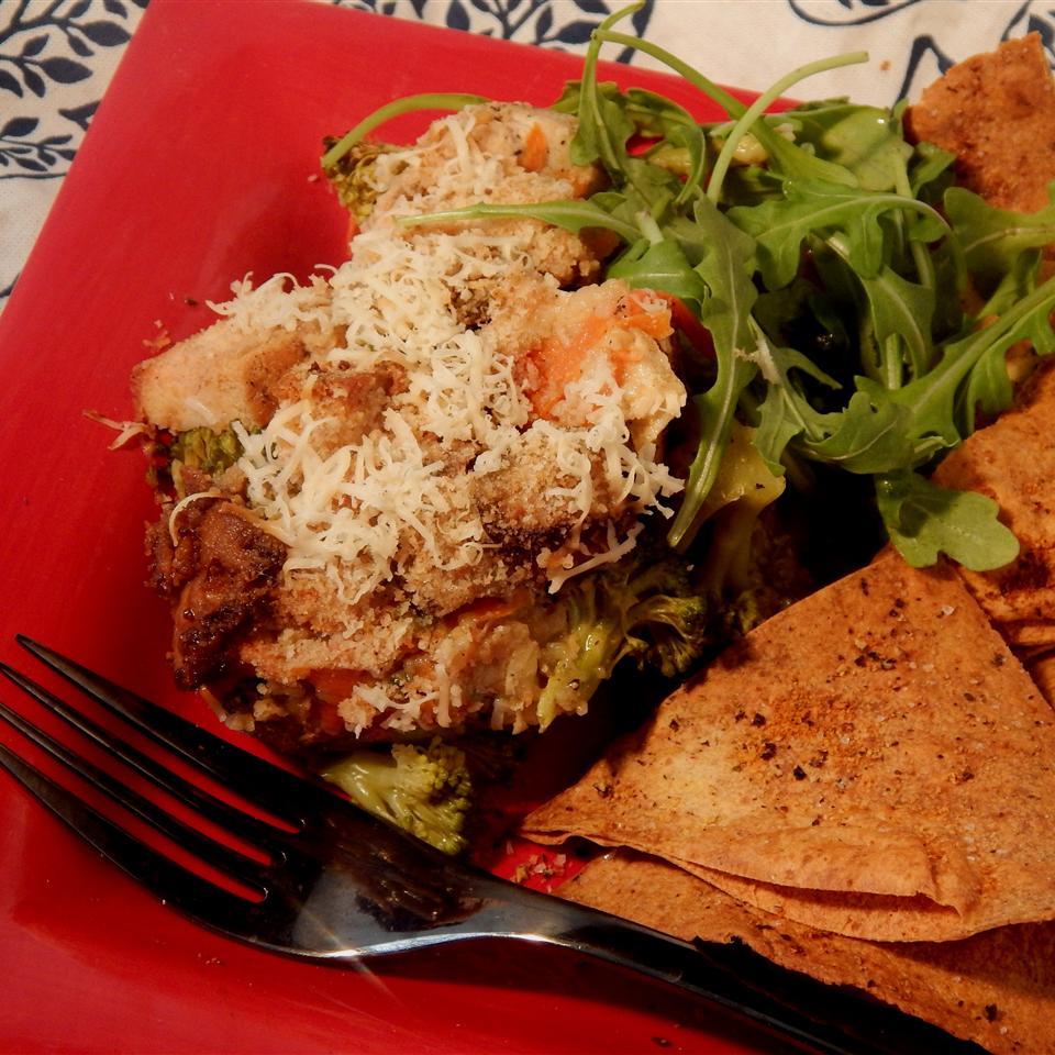 Spicy Chicken Broccoli Casserole with Fresh Arugula Linda T