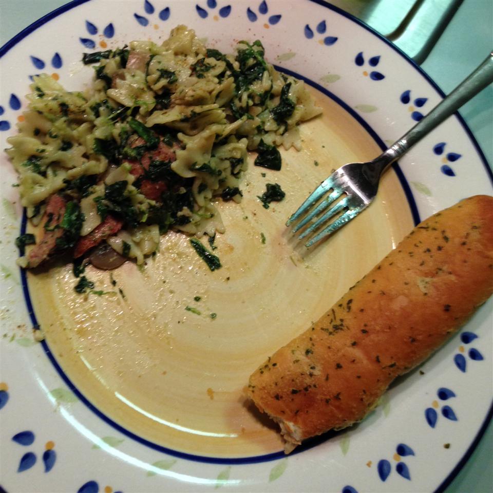 Sausage and Bow-Tie Pasta Florentine