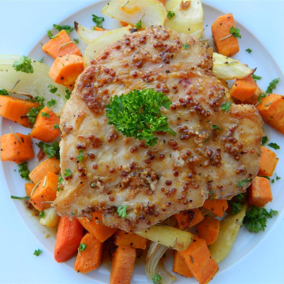 Honey-Mustard Chicken with Roasted Vegetables Bibi