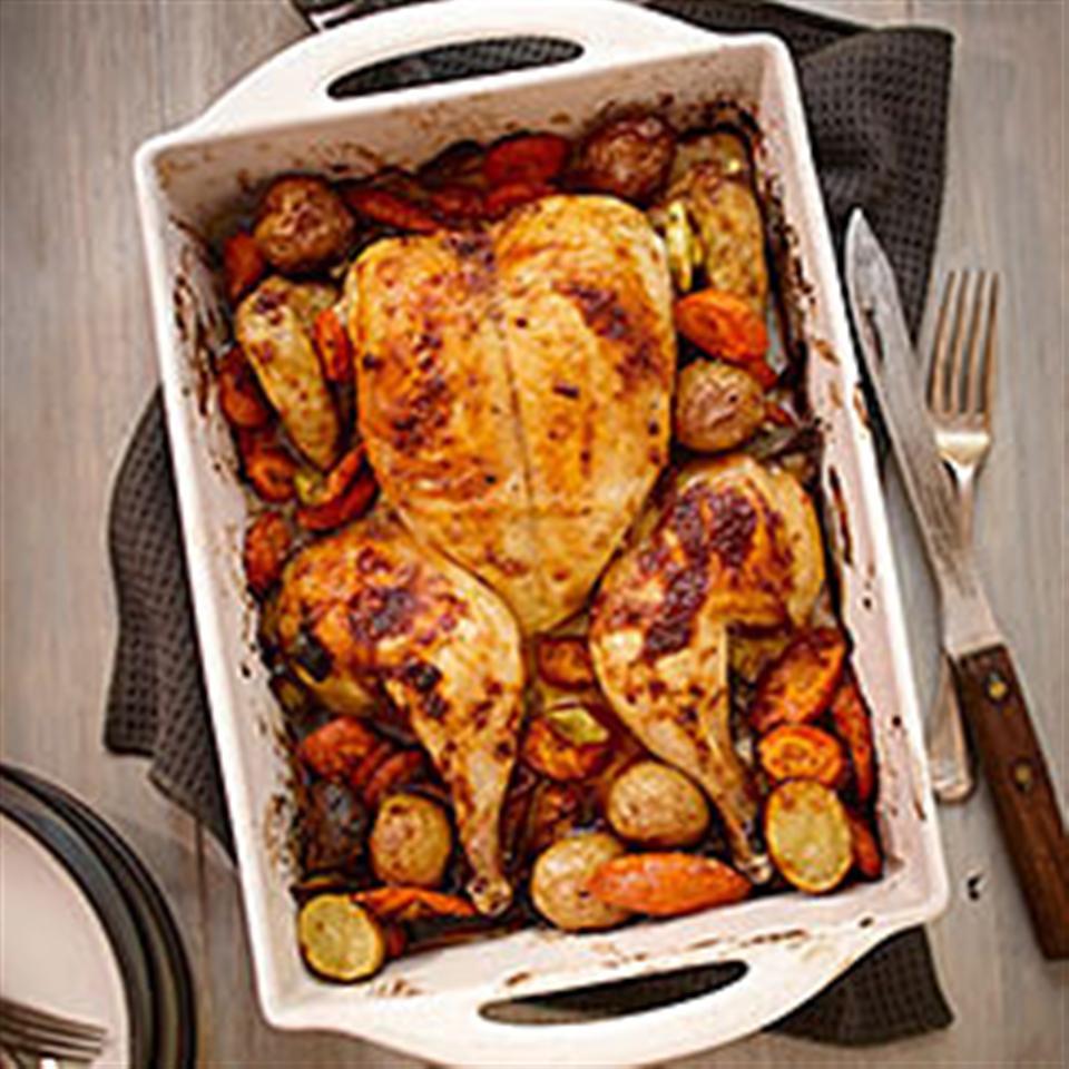 Spice Rubbed Flattened Roast Chicken