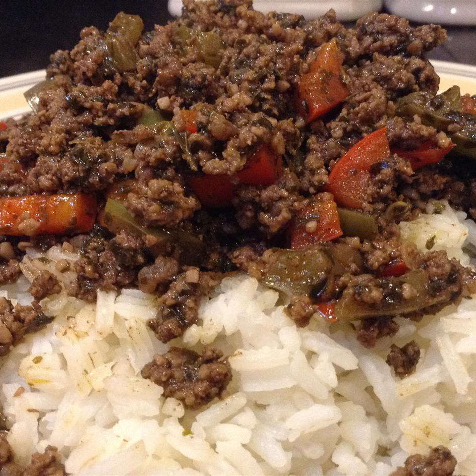 """A perfect one dish meal,"" says amanda1432. ""This ground beef dish is served over jasmine rice and combines the flavors of garlic, soy, and ginger with a hint of heat."""