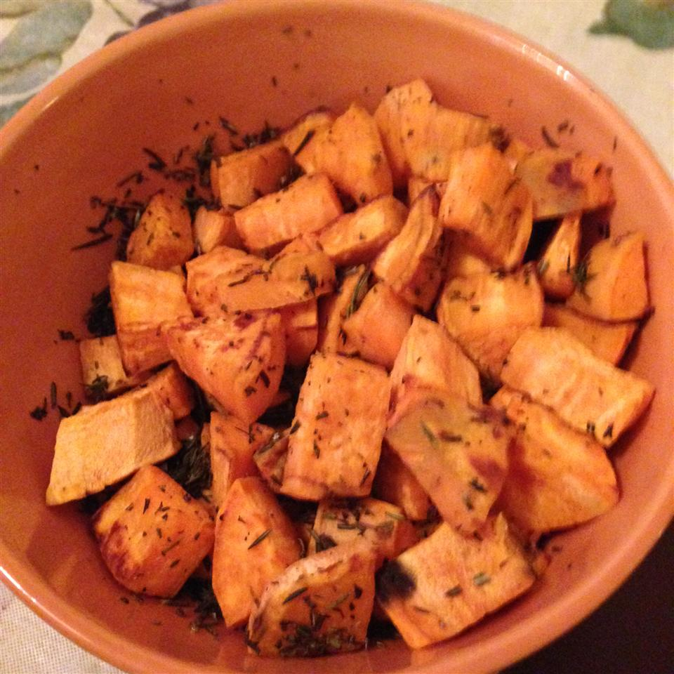 Low-Cal Roasted Sweet Potato Bites Gina