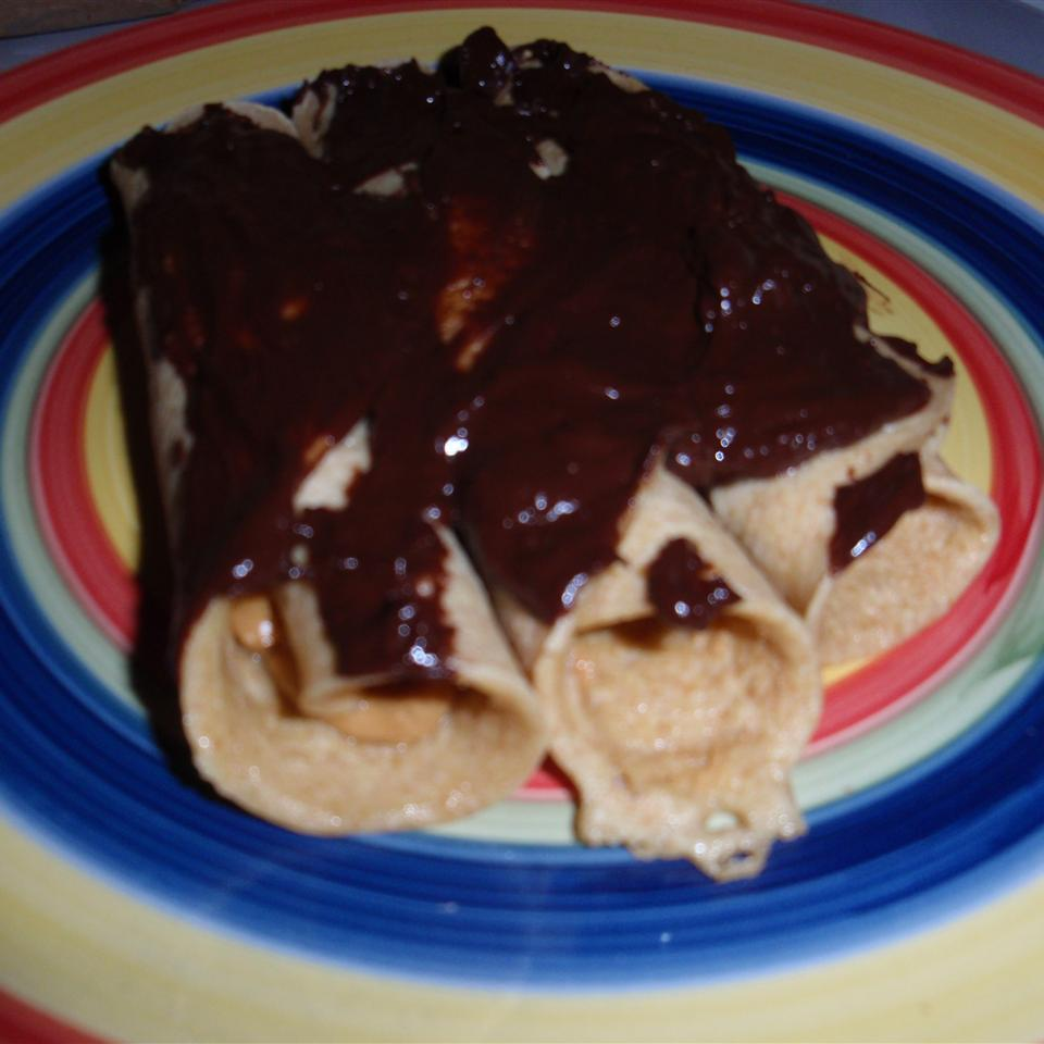 Peanut Butter-Filled Crepes with Warm Chocolate Sauce