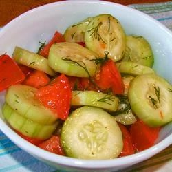 Crispy Cucumbers and Tomatoes in Dill Dressing