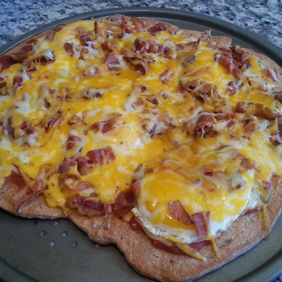 Breakfast Bacon and Sausage Pizza