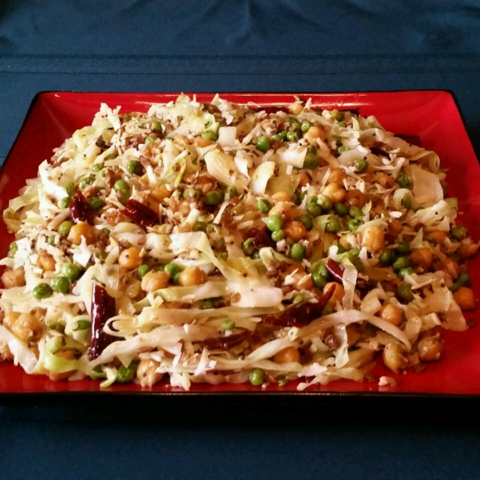 """""""This a very simple yet delicious Andhra recipe for cabbage koora (sabji),"""" says SUSMITA. """"I like it so much that sometimes I eat it all by itself, like a salad with some yoghurt on the side. The spice here comes from the green chilis."""""""