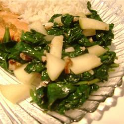 Spinach with Apples and Pine Nuts tizzylizz