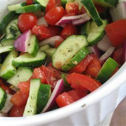 Crispy Cucumbers and Tomatoes in Dill Dressing mommyluvs2cook