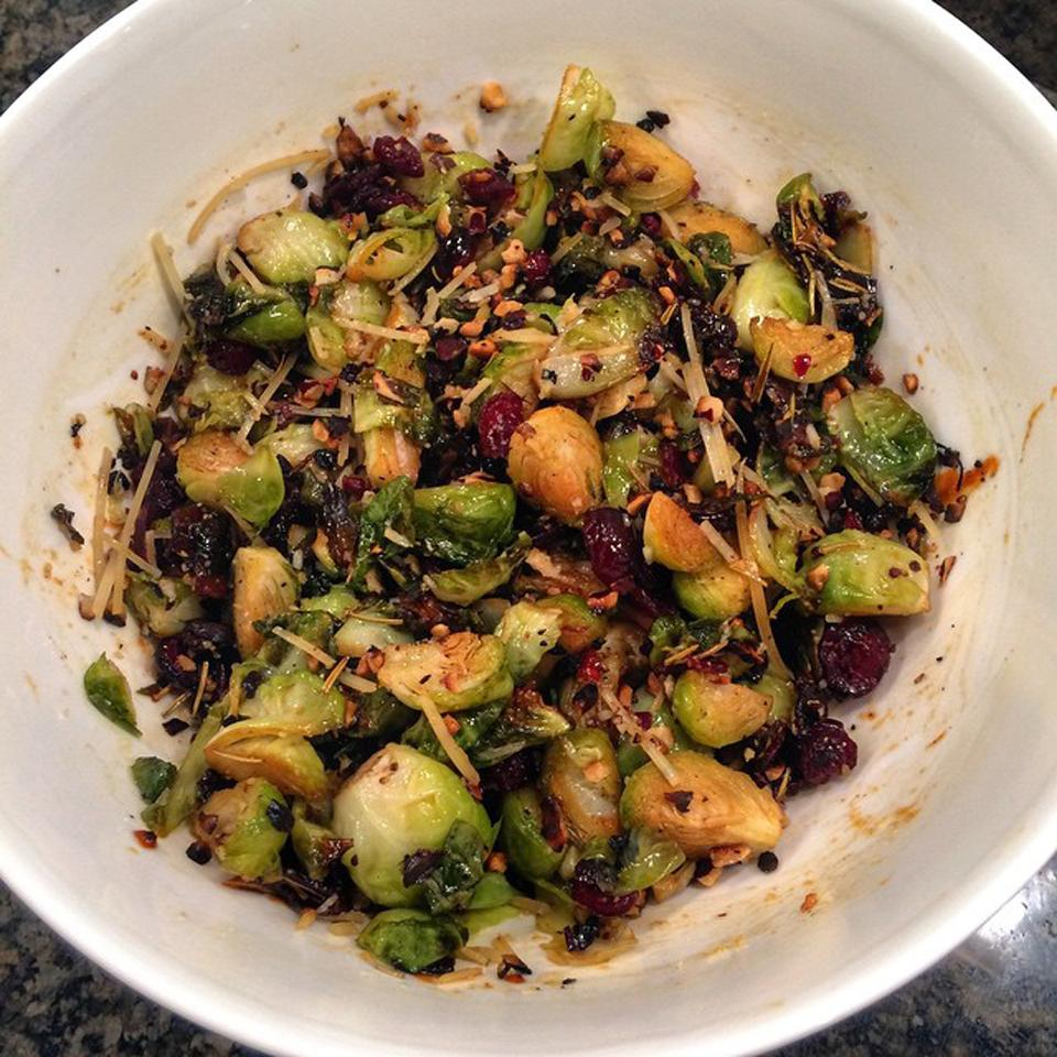 Warm Brussels Sprout Salad with Hazelnuts and Cranberries apopova