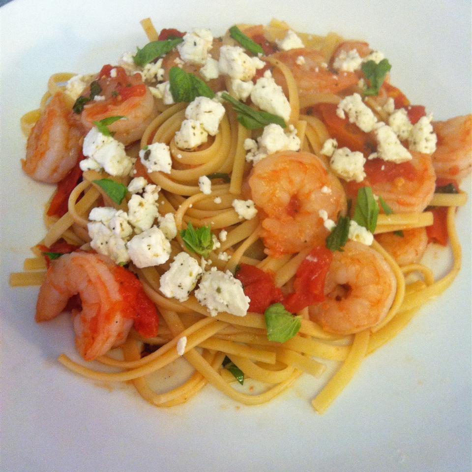 Fire Roasted Tomato and Feta Pasta with Shrimp