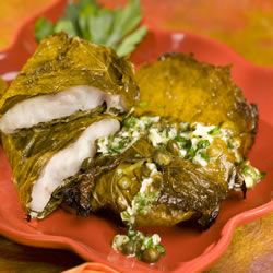 Red Snapper in Grape Leaves with Garlic and Caper butter Allrecipes Trusted Brands