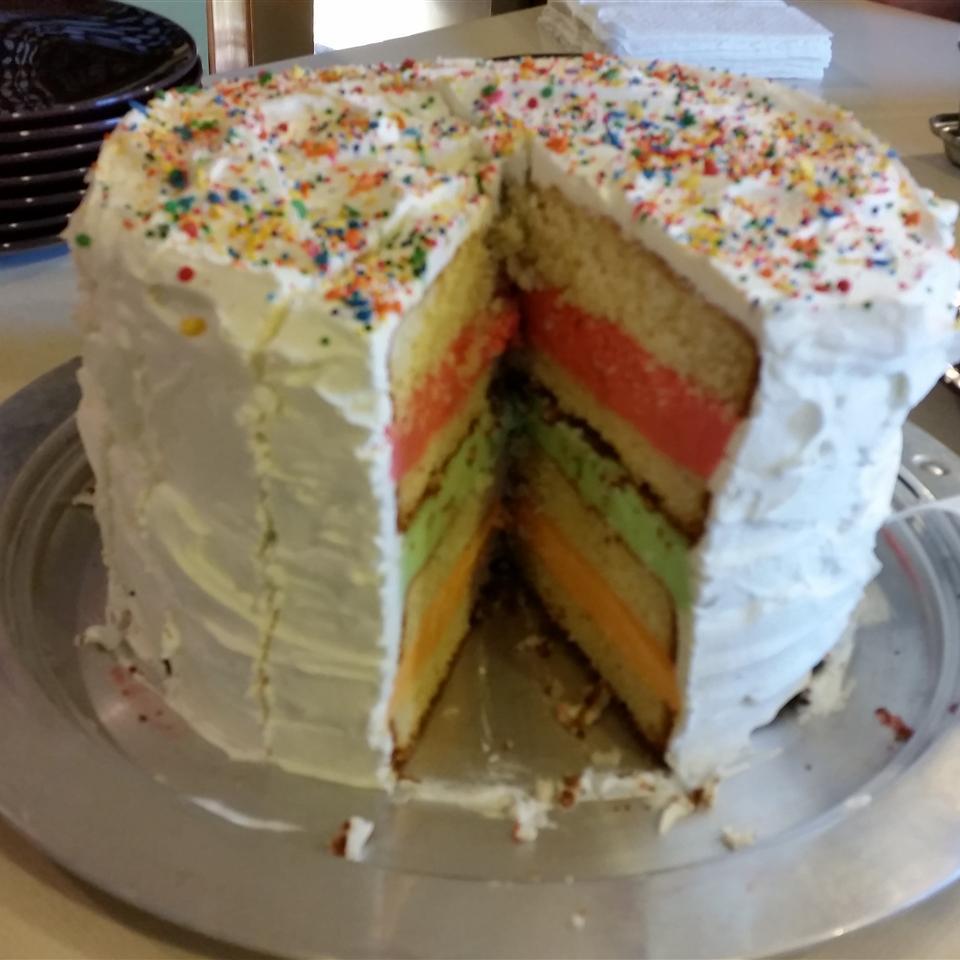 Rainbow Sherbet Cake cooks4forty