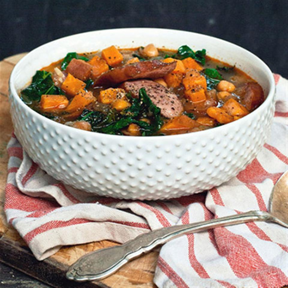 Smokey Sausage, Kale & Sweet Potato Soup