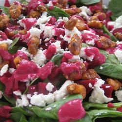 Spinach and Goat Cheese Salad with Beetroot Vinaigrette