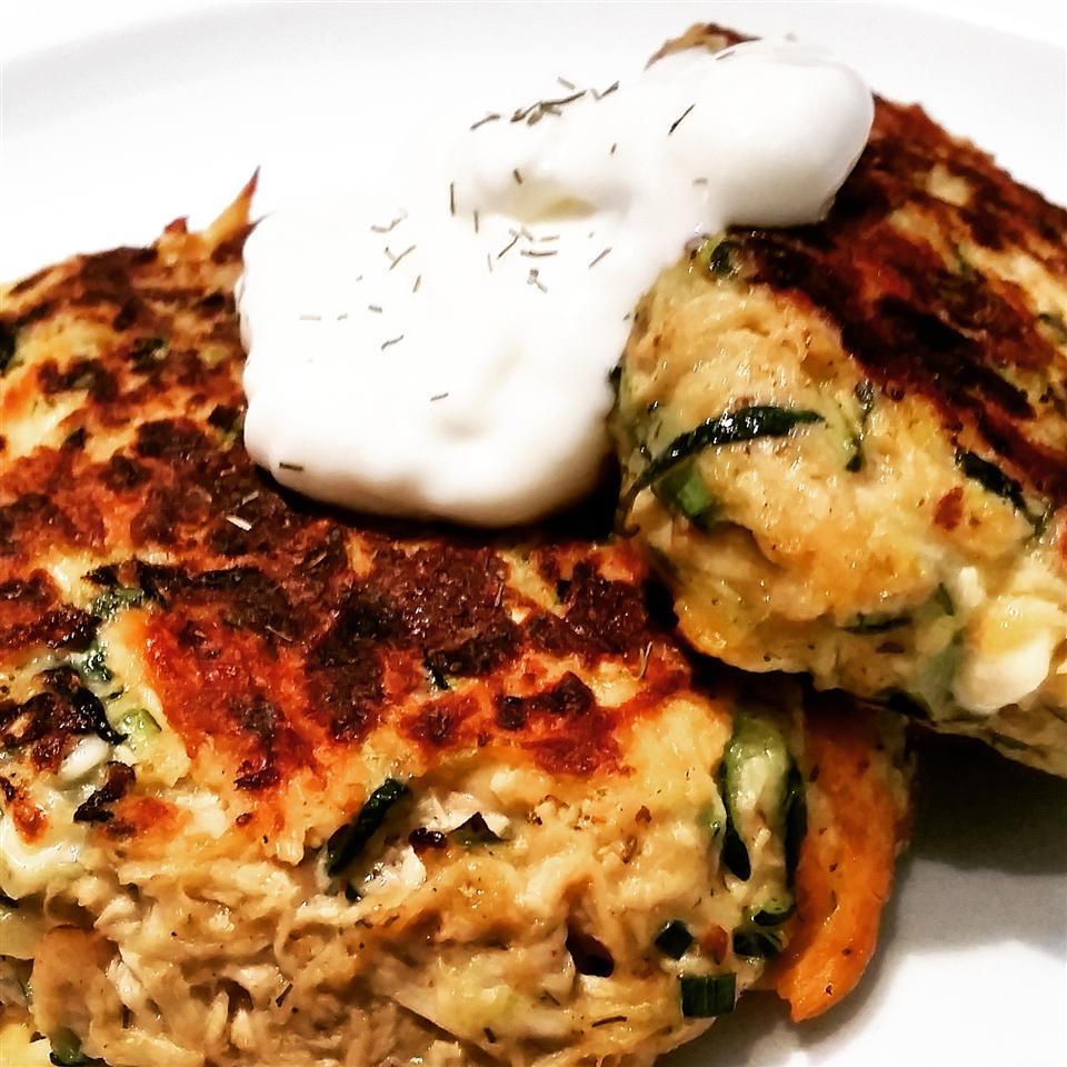 Chicken, Chive, and Feta Zucchini Fritters Raquel Teixeira