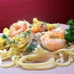 Shrimp and Artichoke Linguine Traci-in-Cali