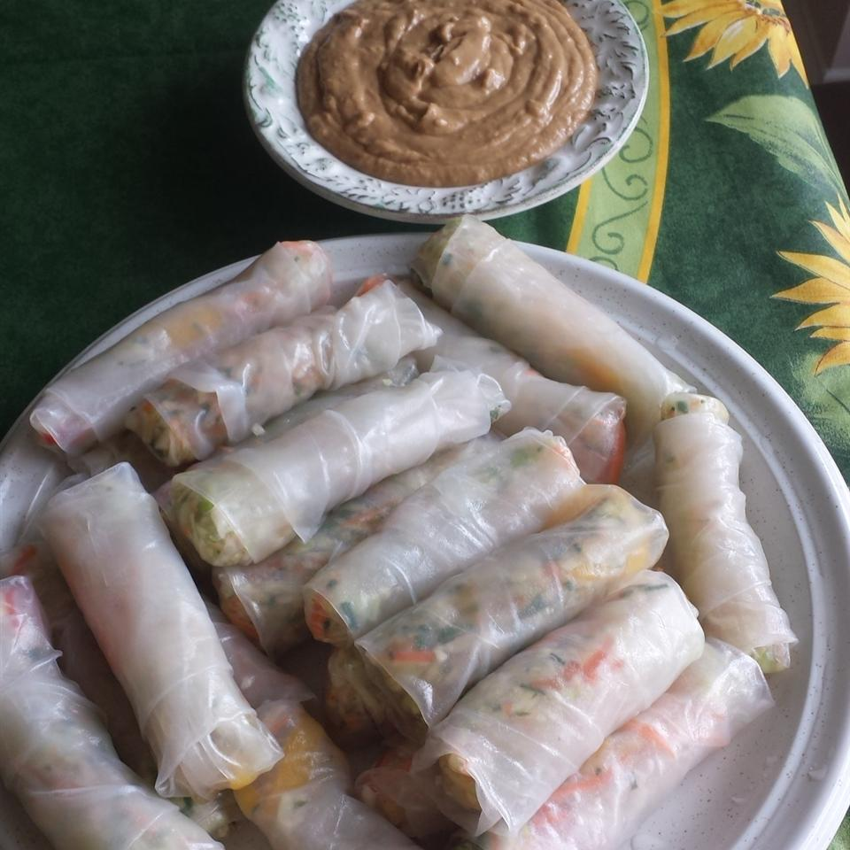 Spring Rolls with Coconut Peanut Sauce Lady at the Stove