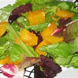 Mesclun and Mango Salad with Ginger Carrot Dressing Fit&Healthy Mom
