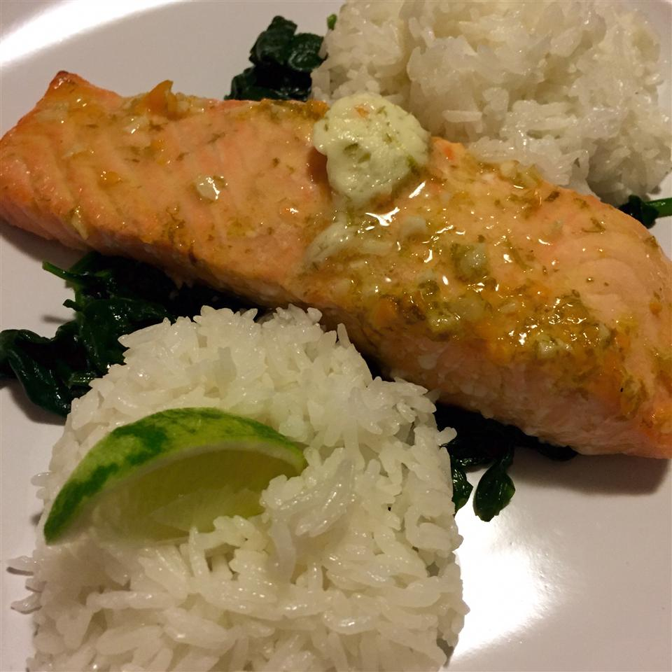 Grilled Salmon with Habanero-Lime Butter thisizkim