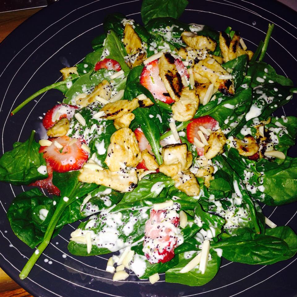 Chicken Strawberry Spinach Salad with Ginger-Lime Dressing JPMJ