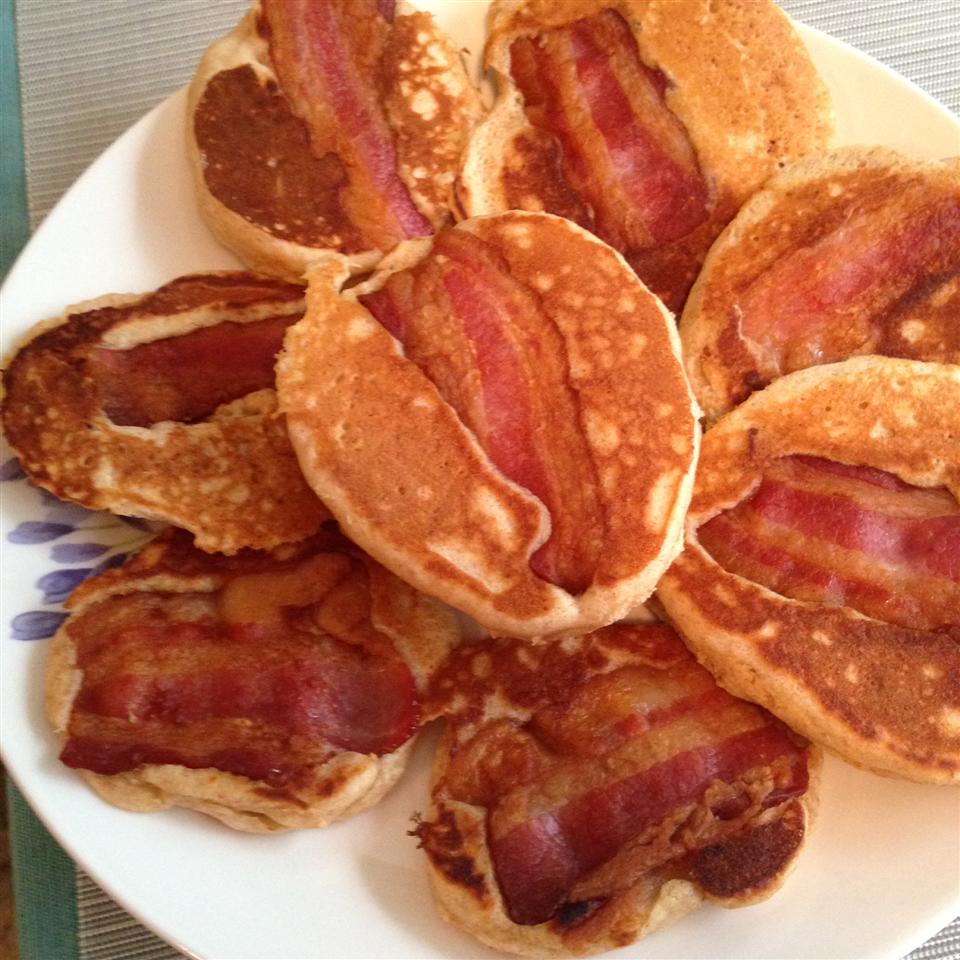 Bacon Pancake Strips with Maple-Peanut Butter Sauce danamariedemeter