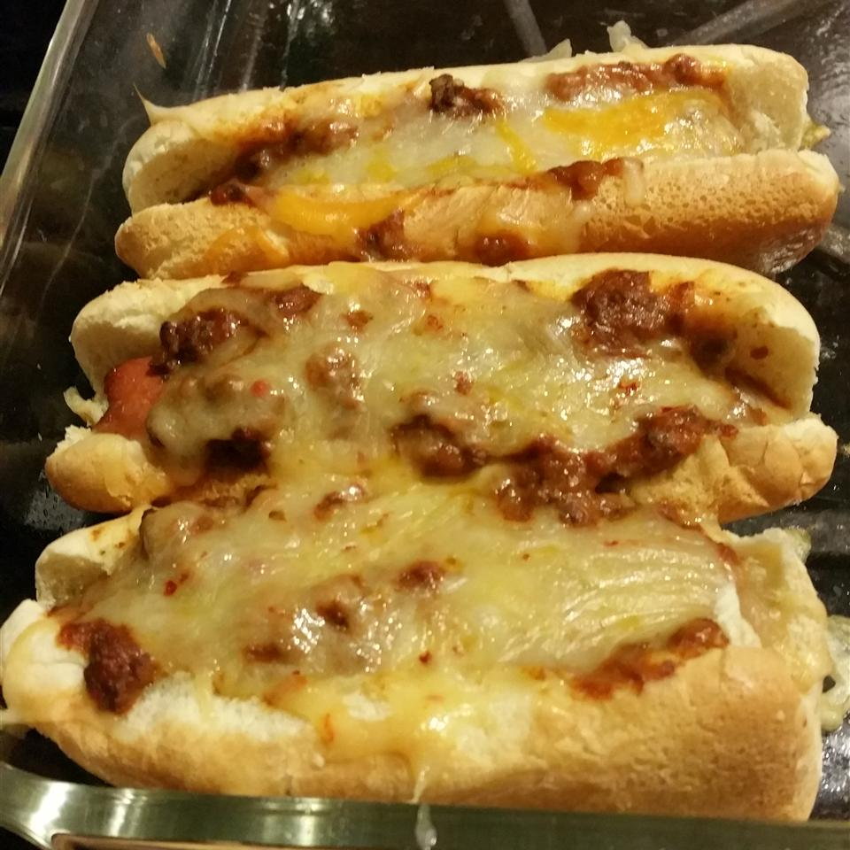 Baked Chili Hot Dogs