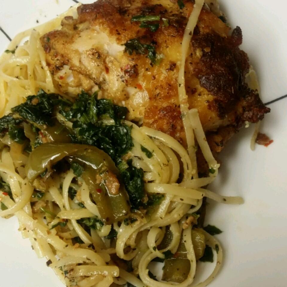 Oven Chicken and Linguini