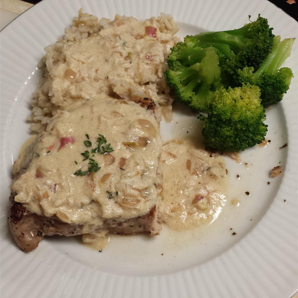 Boneless Pork Chop with Shallot Mustard Sauce Audra