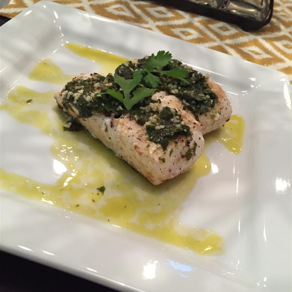 Grilled Halibut with Cilantro Garlic Butter herndondavid