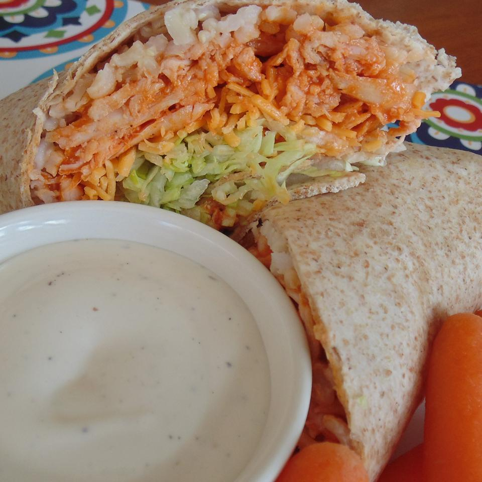 Buffalo or Barbeque Chicken and Rice Wraps