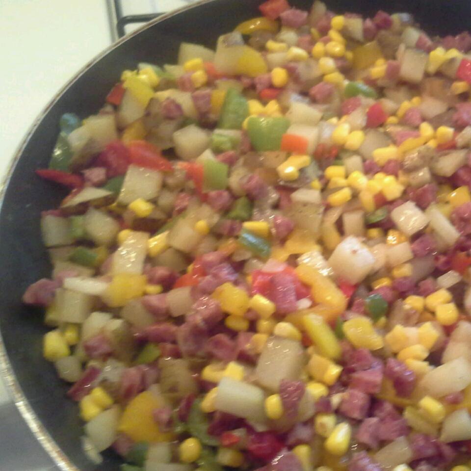'Day Before Payday' Kielbasa and Corn Hash