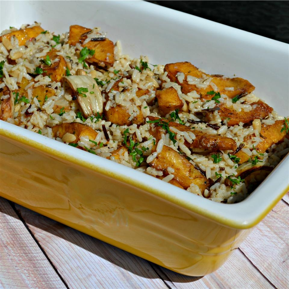 Balsamic Roasted Fennel and Acorn Squash Rice Casserole