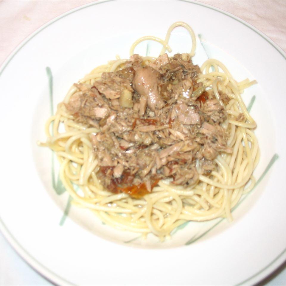 Pasta with Tuna, Sun-Dried Tomatoes, Artichoke Hearts, Lemon, and White Wine