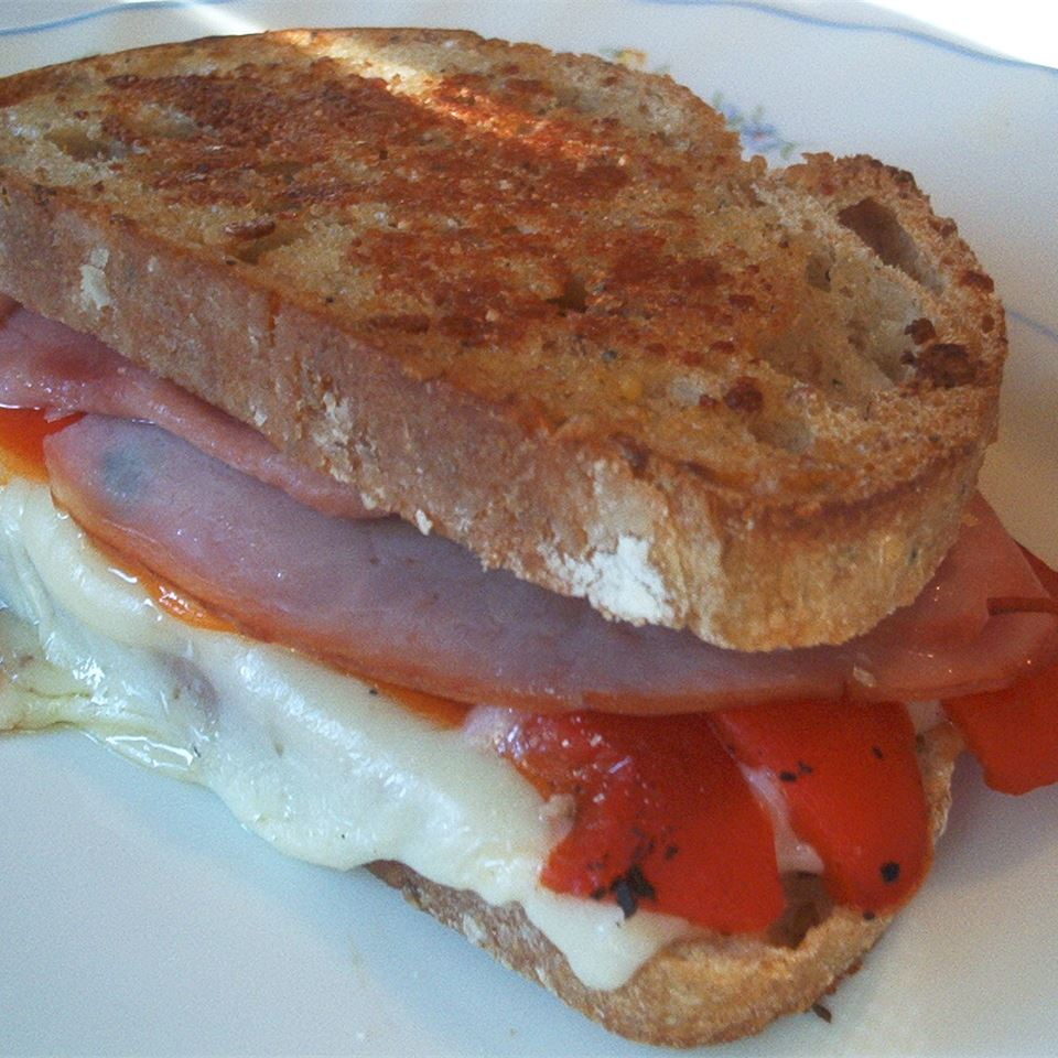 Grilled Roasted Red Pepper and Ham Sandwich LORIMCLAREN