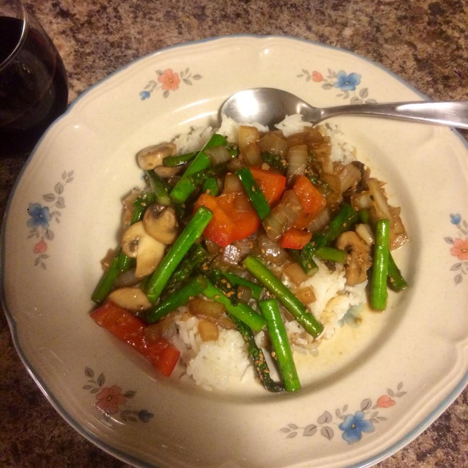 Stir Fried Sesame Vegetables with Rice