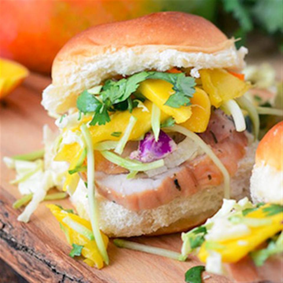 Pork Tenderloin Sliders with Spicy Mango Slaw
