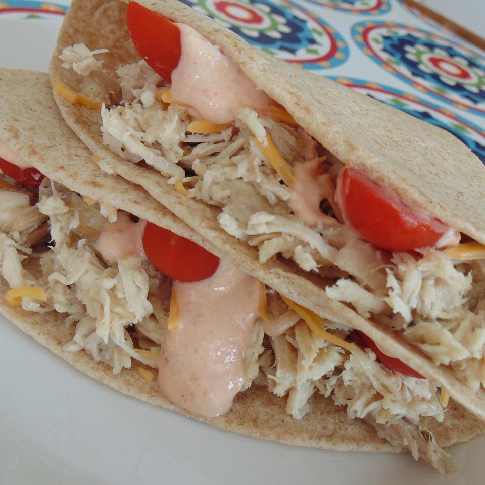 Slow Cooker Chicken Tacos with Chipotle Cream Sauce LaurenKU