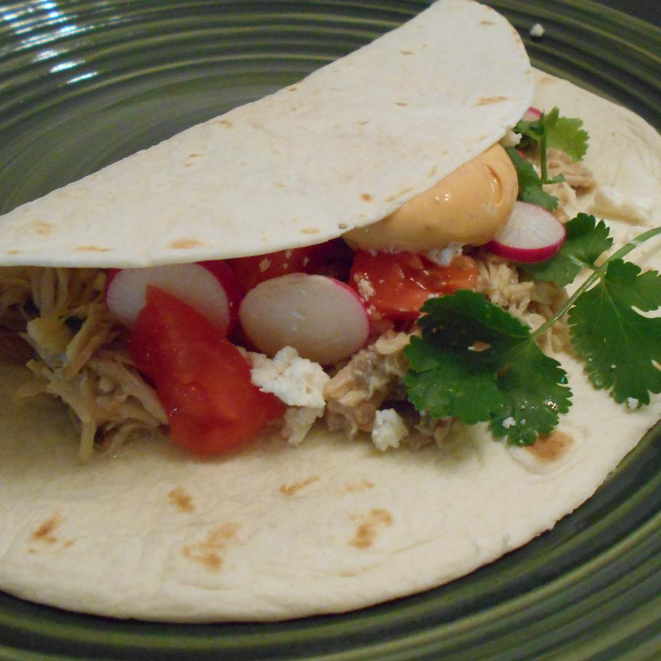 Slow Cooker Chicken Tacos with Chipotle Cream Sauce ONIOND