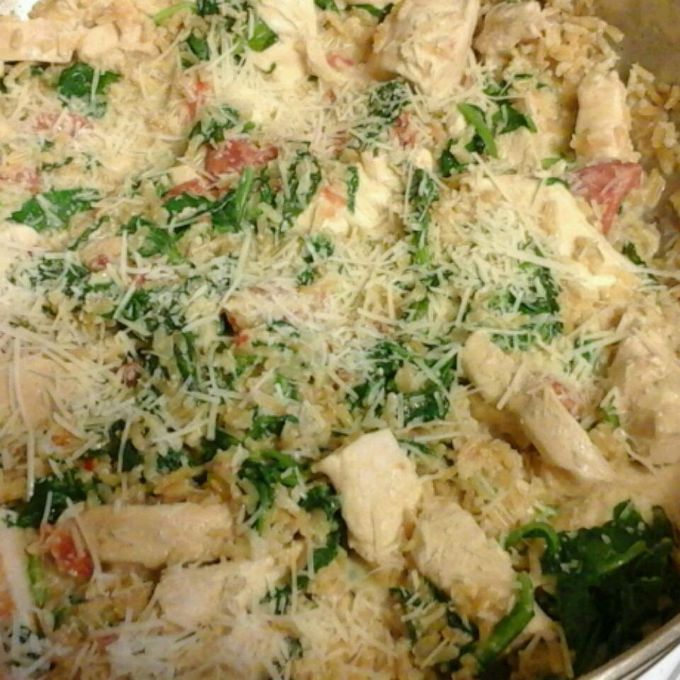 Creamy Rice, Chicken and Spinach Dinner Tasha Frisella Jones