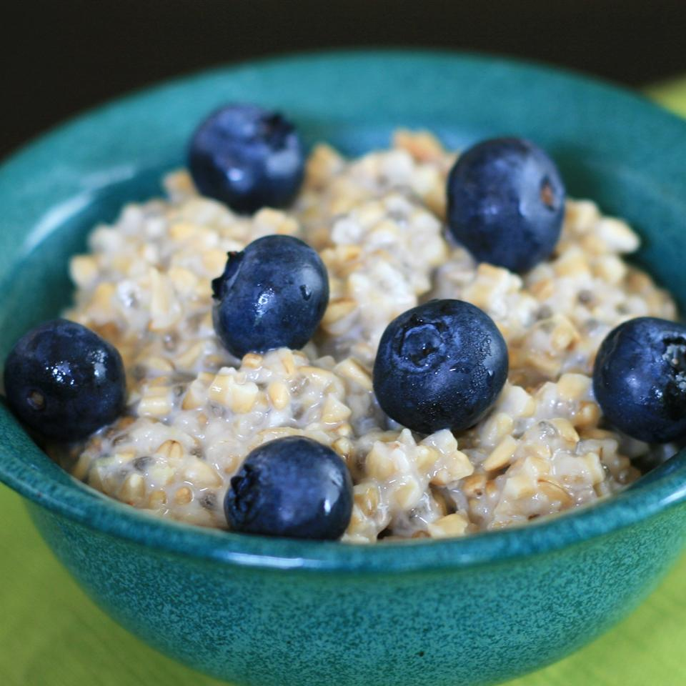 Steel Cut Oats with Blueberries and Lemon Zest