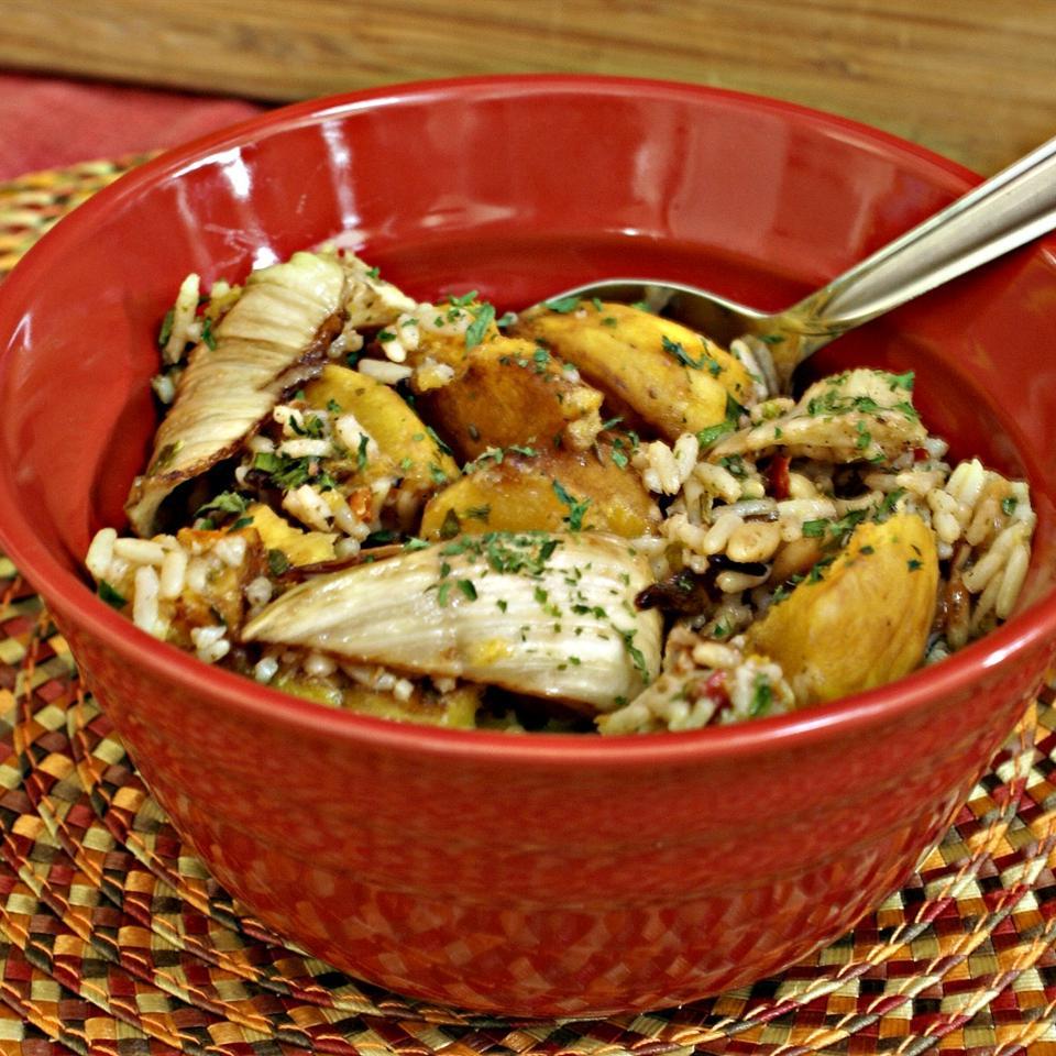 Balsamic Roasted Fennel and Acorn Squash Rice Casserole Elizabeth