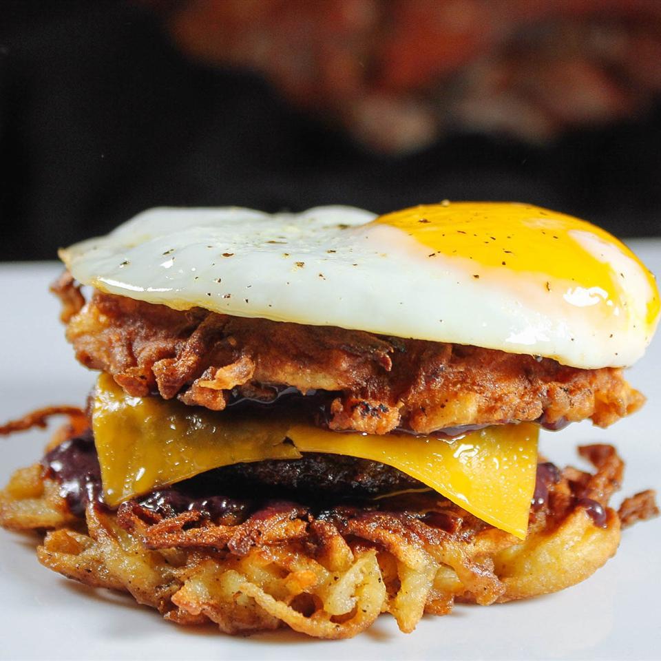 Latkes Breakfast Sandwiches with Blackberry-Yogurt Spread