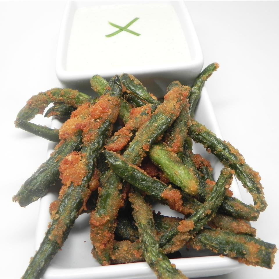 Green Bean Fries with Cucumber Wasabi Dip
